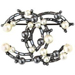 Chanel Grey and Ivory Pearl and Crystal CC Brooch with Box