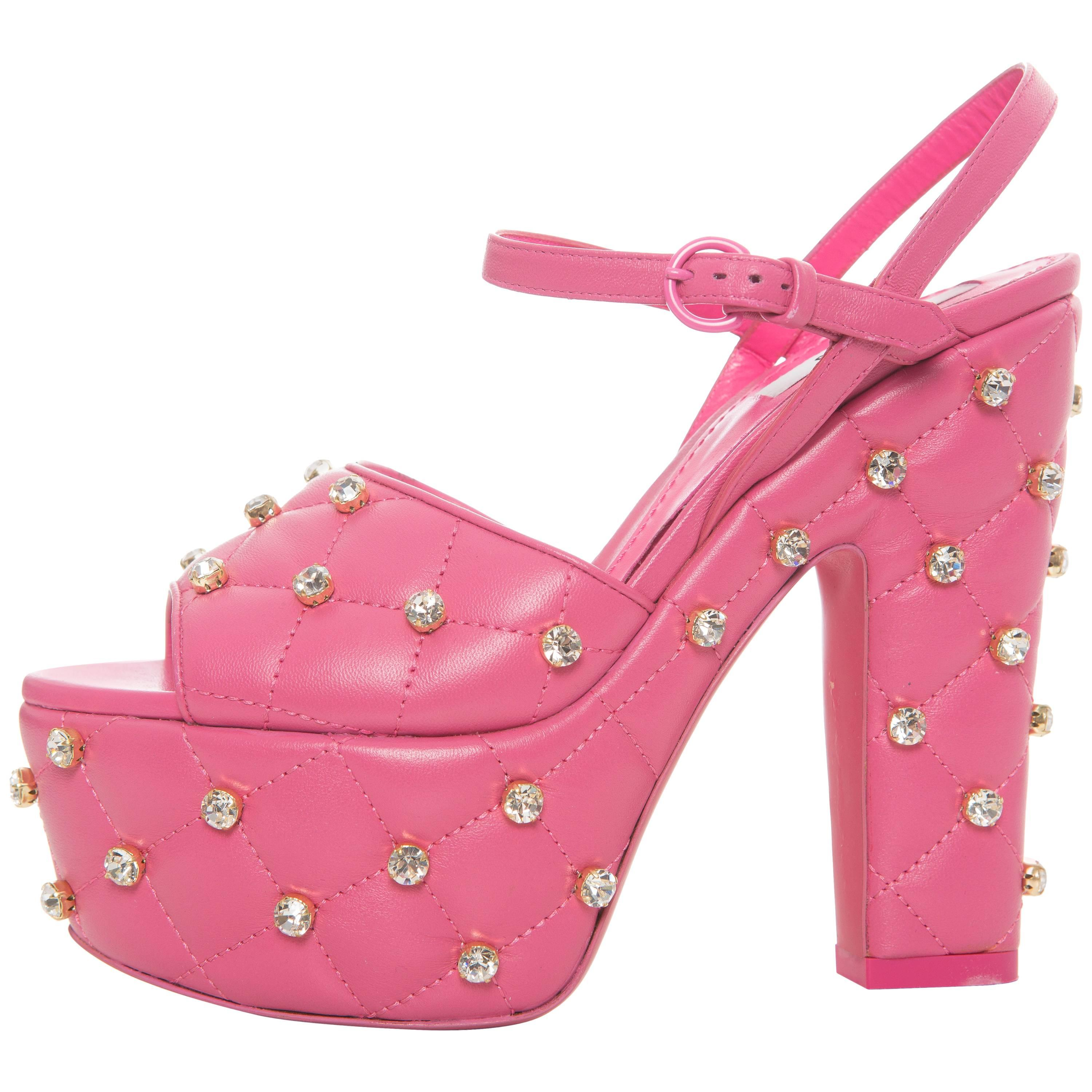 944d2989ad4 Moschino Couture Pink Quilted Leather Crystal Platform Sandals ...