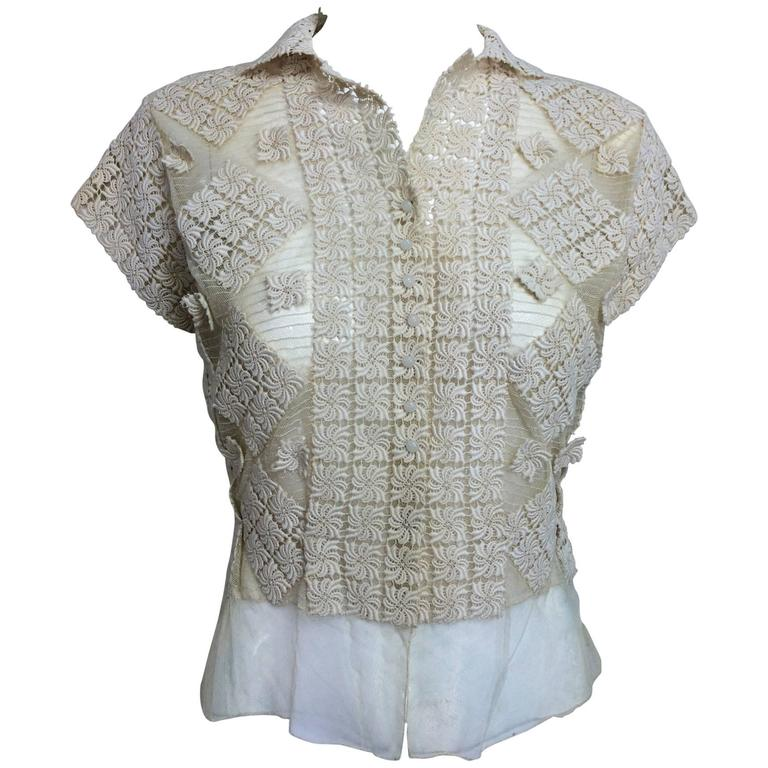 Vintage sheer cream cotton tulle & lace button front short sleeve blouse 1930s