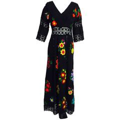 Vintage colourfully embroidered black cotton & lace Mexican maxi dress 1970s