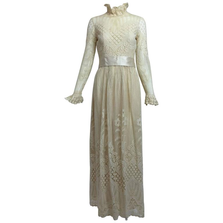 Vintage Miss Dior cream lace maxi dress 1970s 1
