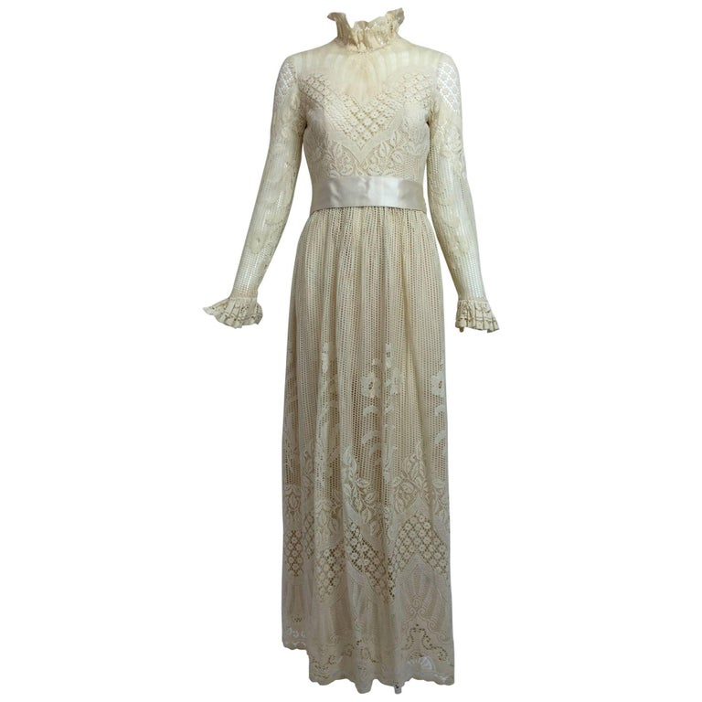 Vintage Miss Dior cream lace maxi dress 1970s For Sale