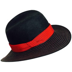 Vintage Galanos matte black & red straw fedora hat 1960s NWT