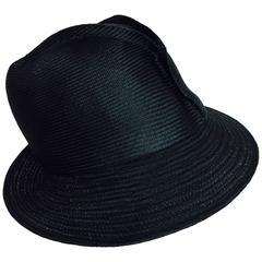 Galanos Vintage exterior seam glazed black straw cloche hat 1960s