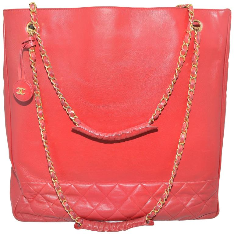 Chanel Red Leather VL Vintage Tote  For Sale