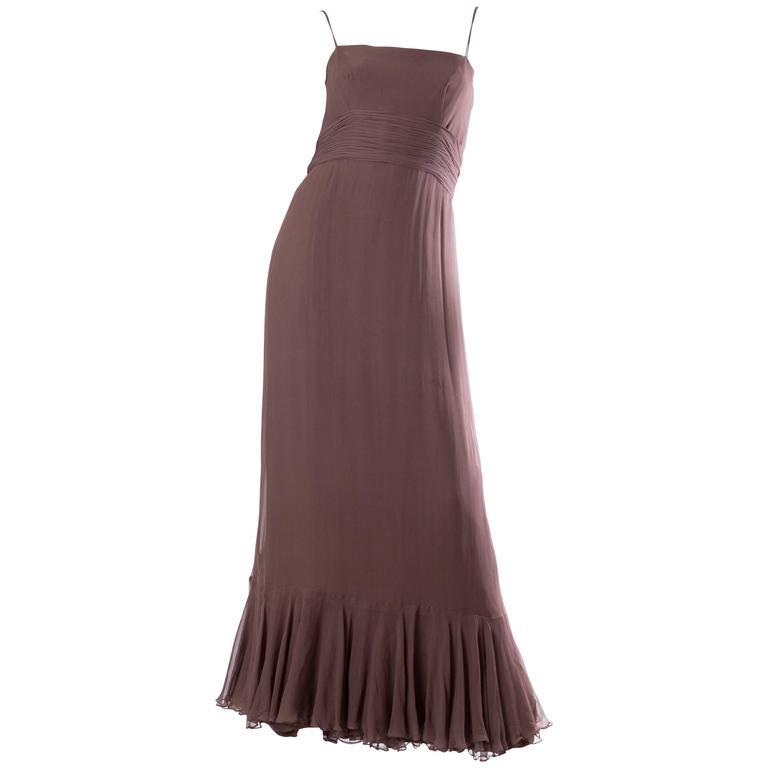 1970s Malcolm Starr Silk Chiffon Ruffled Gown