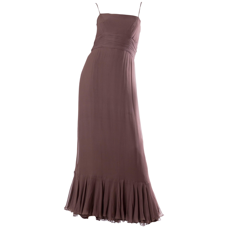 1970S MALCOLM STARR Chocolate Brown Silk Chiffon Boho Ruffled Gown
