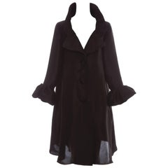 Alber Elbaz for Lanvin Black Silk Lightweight Evening Coat, Fall 2006