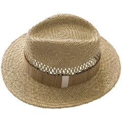 Lanvin Men's Open Weave Straw Brimmed Hat Includes Hat Box
