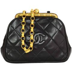 Chanel Vintage Black Quilted Leather Mini CC Cross-Body with GHW