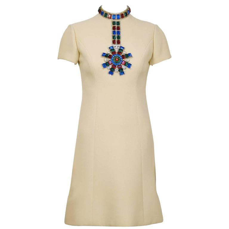 1960's Norell Beige Dress With Large Jewels For Sale