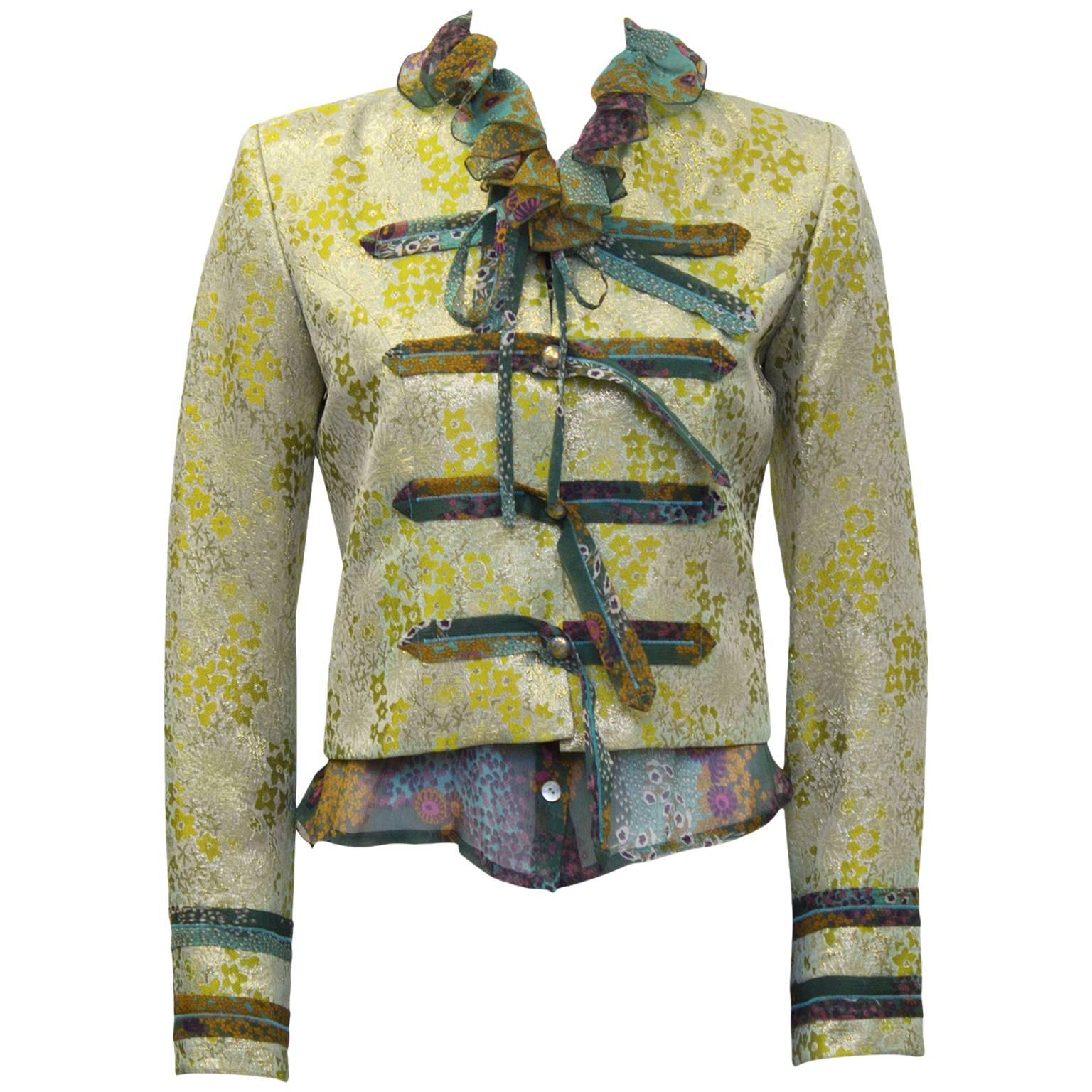Early 2000's Loulou de la Falaise Brocade Jacket with Floral Blouse