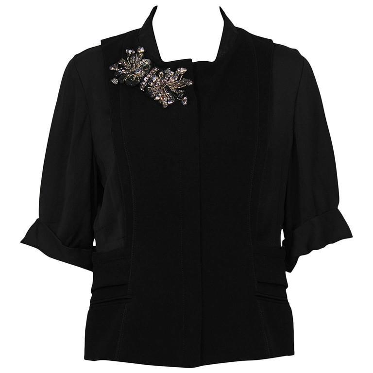 2000's Prada Black Jacket with Rhinestone Flowers  For Sale
