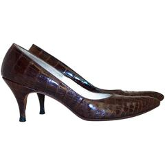 50s Chocolate Alligator Heels