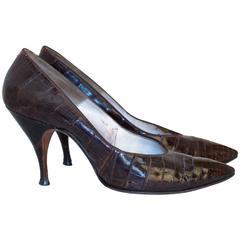60s Brown Alligator Heels