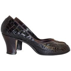 40s Dark Chocolate Brown Round Toe Heels