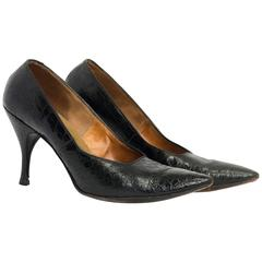 60s Black Alligator Pointed Toe Stilettos