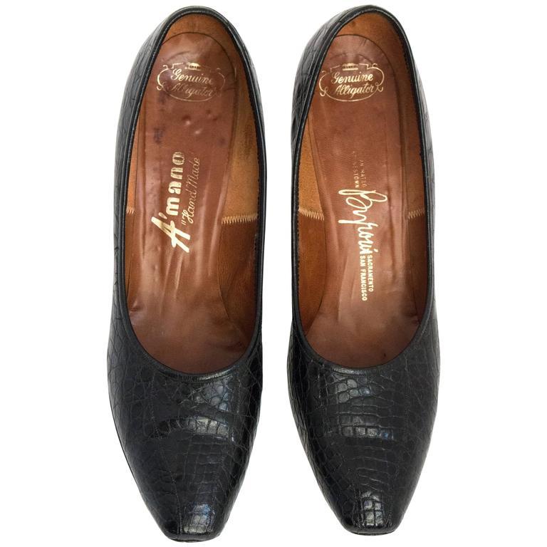 60s Black Alligator Kitten Heels