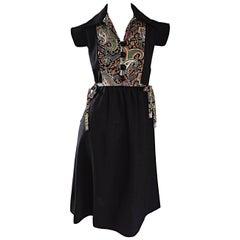 1970s Lord & Taylor Black Linen Paisley Cap Sleeve Vintage Boho A - Line Dress