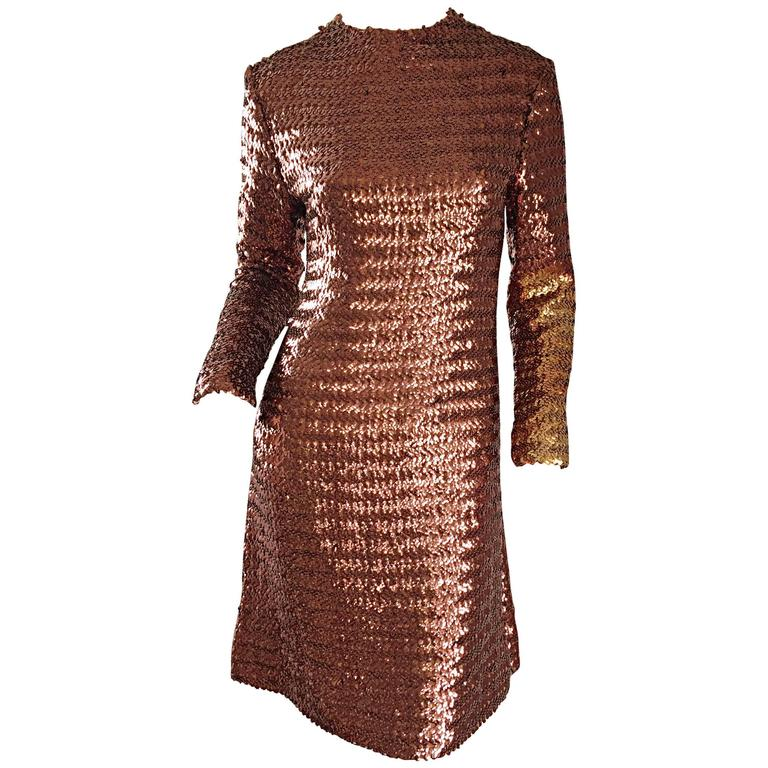 1960s Suzy Perette Bronze Ombre Fully Sequined A Line Vintage Long Sleeve Dress 1
