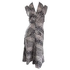 Chanel 03P Black and White Flower + Logo Print Cut - Out Cotton Halter Dress