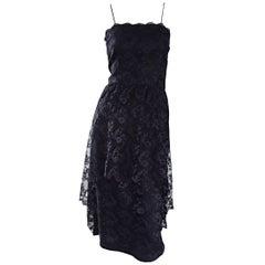 1960s Mollie Parnis Black Silk Chantilly Lace Dipped Hem Vintage Dress w/ Train