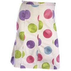 Vintage Moschino ' Cheap & Chic ' Ivory Polka Dot 1990s 90s A - Line Skirt