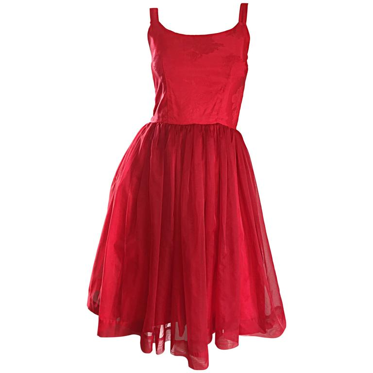 Gorgeous 1950s 50s Lipstick Red Demi Couture Silk Brocade Cocktail Dress For Sale