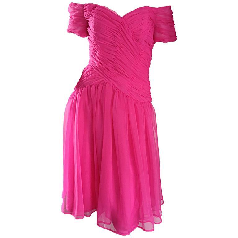 Victor Costa For Bergdorf Goodman Vintage Hot Pink Chiffon Off - Shoulder Dress 1