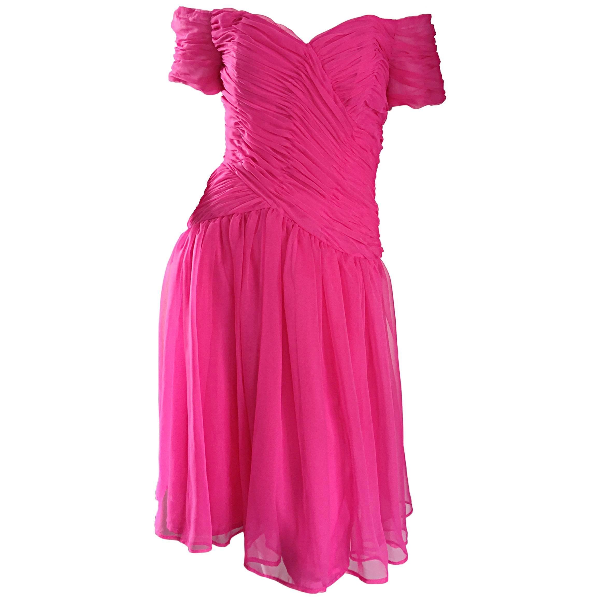 Victor Costa For Bergdorf Goodman Vintage Hot Pink Chiffon Off - Shoulder Dress
