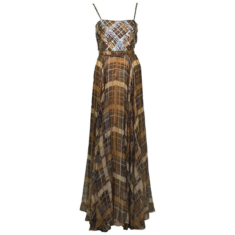1970's Lew Prince of Aldrich Plaid Chiffon Gown with Belt