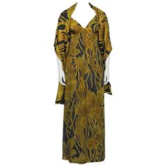 1970's Anonymous Gold and Black Floral Gown