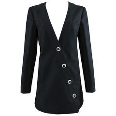 CHANEL 14C Runway Black Cotton Linen Jacket with White Buttons