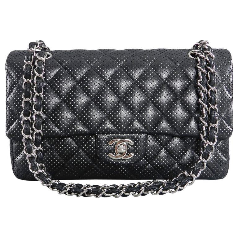 Chanel Black Perforated Classic Flap Bag Purse Medium Silver Hardware For