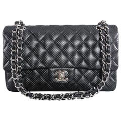 CHANEL Black Perforated Classic Flap Bag Purse Medium Silver Hardware