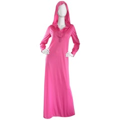 Geoffrey Beene Vintage Pink Hooded Caftan Long Sleeve Maxi Dress