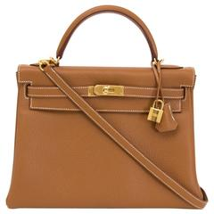 Brand New Hermès Kelly 32 Gold Retourne Taurillon Clemence