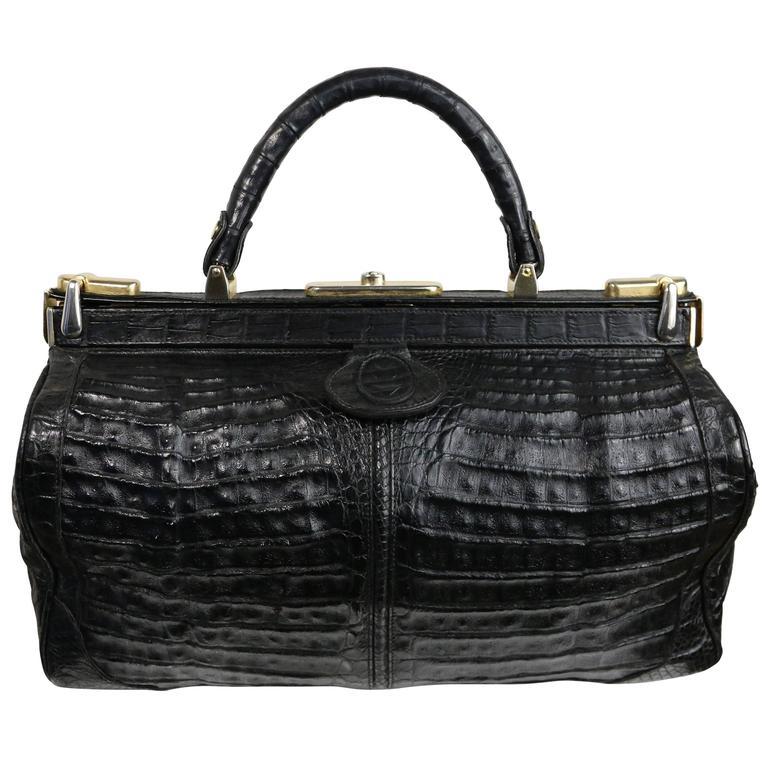 1stdibs Exclusive Black Crocodile Leather Kelly Style Handbag zn62zbtW