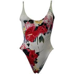 Unique Gianfranco Ferre Floral Monogram Swimsuit