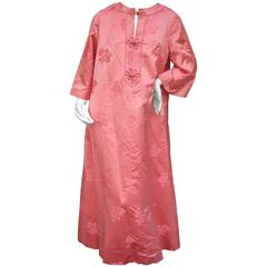 Luxurious Coral Pink Satin Damask Caftan Gown c 1970s