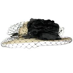 Suzanne Couture Millinery Beige Raw Silk Hat with Black Netting and Flower