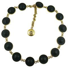 Gianni Versace Vintage Black Leather and Gold Tone Medusa Link Belt/Necklace