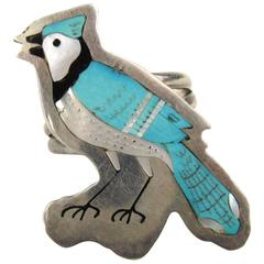 Sterling Silver Zuni Inlay Blue Jay Ring by Sammy & Esther Guardian