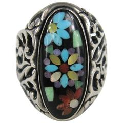 Large Unisex Vintage Inlaid Sterling silver ring Turqouise - Coral