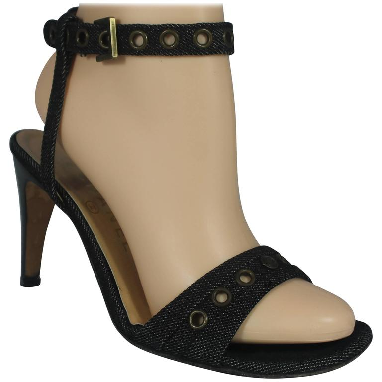 Chanel Denim Heels with Grommets and Ankle Strap - 36.5