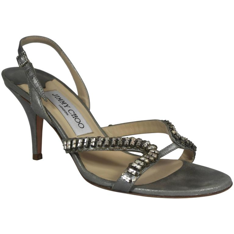 Jimmy Choo Shimmery Silver Slingback Heels with Bedazzlement - 37