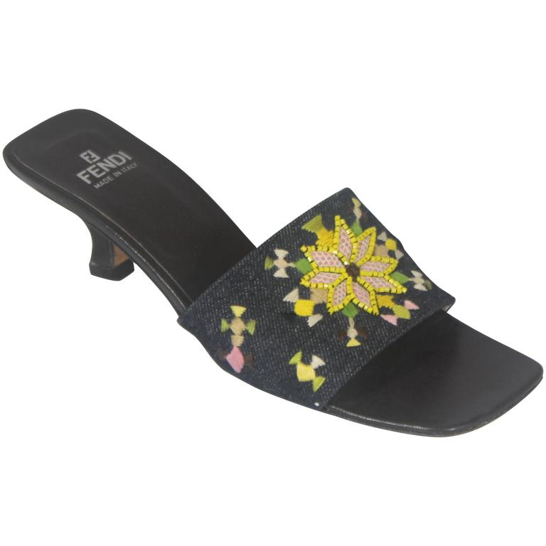 Fendi Denim Slides with Multi-Colored Embroidered and Beaded Design - 7M