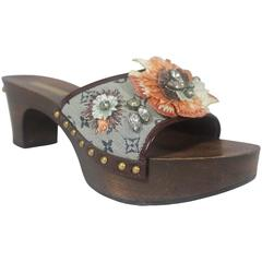 Louis Vuitton Grey Monogram Clog w/  Rhinestone and Floral Raffia Decor - 37