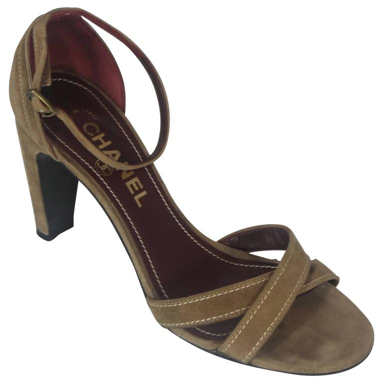 Chanel Tan Suede Strappy Heels with Ankle Strap - 36.5 For Sale