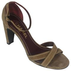 Chanel Tan Suede Strappy Heels with Ankle Strap - 36.5